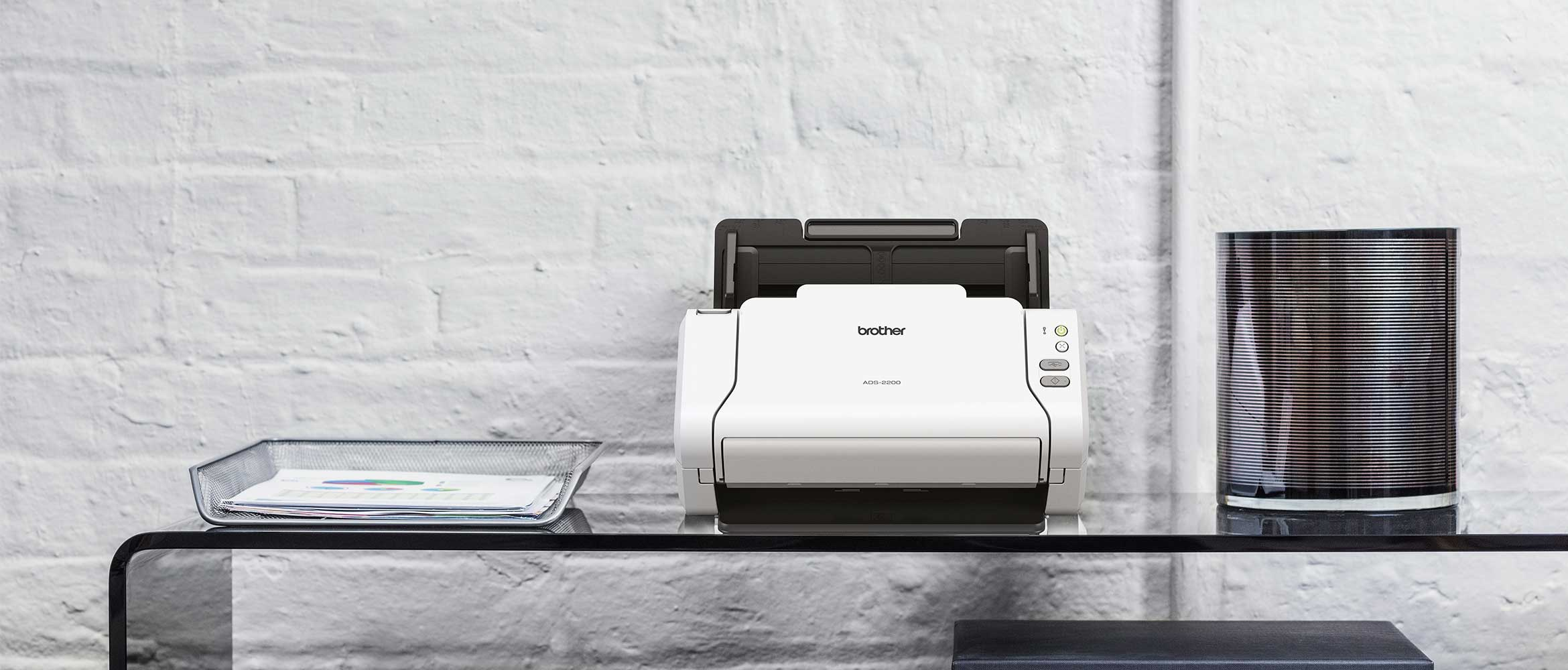 Genuine Brother document scanner on a desk