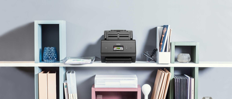 Black and white Brother desktop document scanner