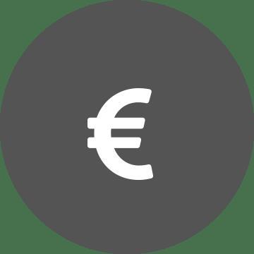 Fehér euró szimbólum egy szürke kör háttérben