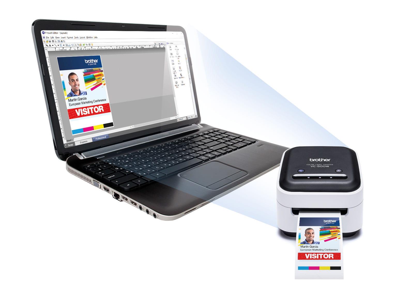 Brother VC-500W színes címkenyomtató és P-touch Editor szoftver a laptopon