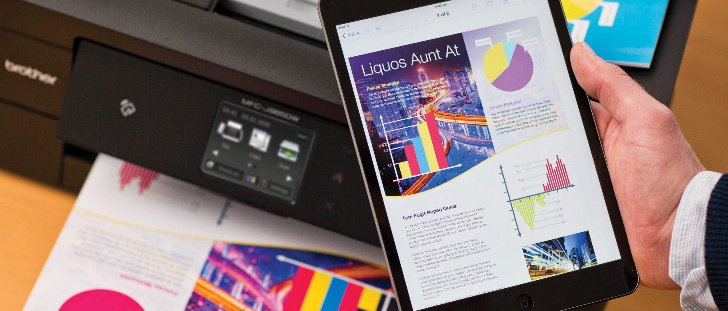 Man uses Brother printer to print documents off his tablet