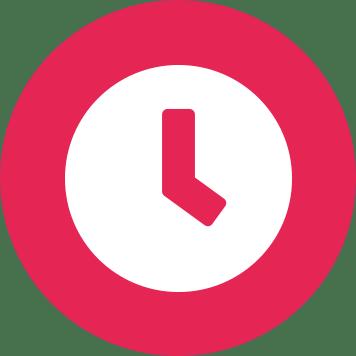 Fehér óra ikon rózsaszín kör háttéren