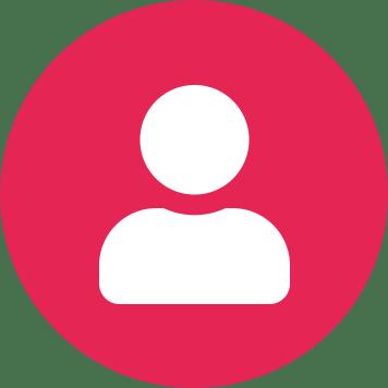Fehér felhasználói ikon rózsaszín kör háttéren