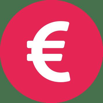 Fehér euró jel bíbor színű körben