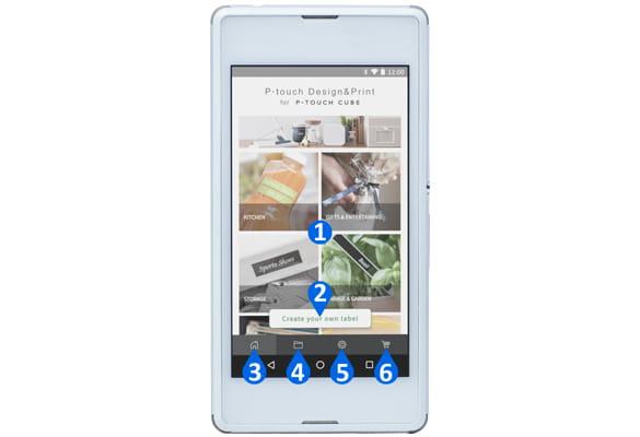 Android okostelefonon a P-touch Design & Print alkalmazás áttekintésének főbb jellemzői