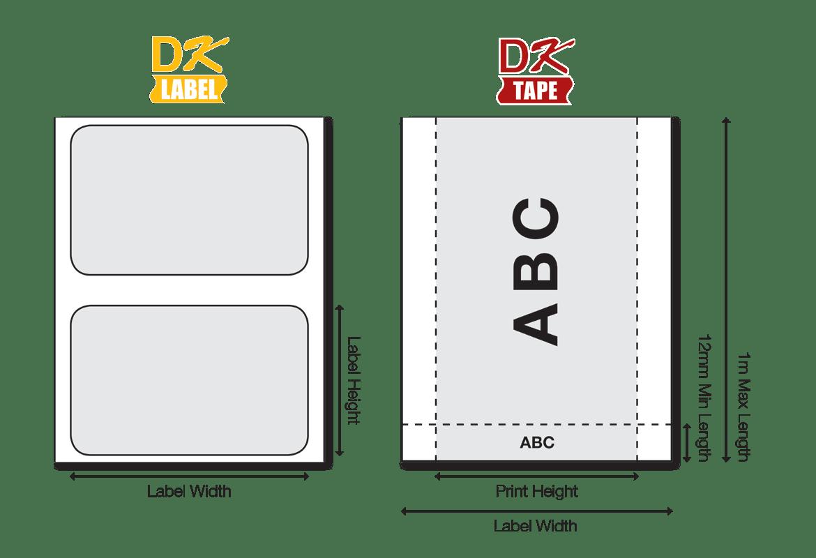 A DK szalagok sokféle méretben elérhetőek