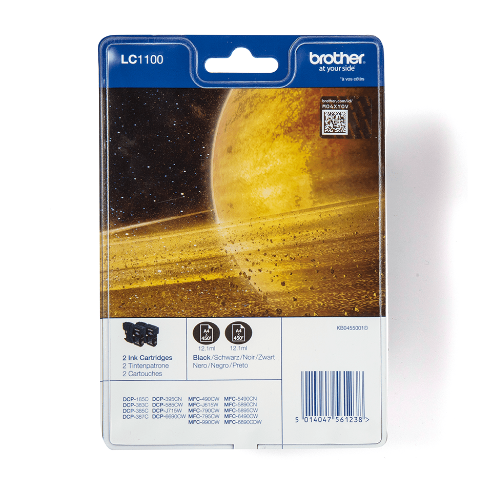 Eredeti Brother LC1100BKBP2 tintapatron, két darab egy csomagban - Fekete