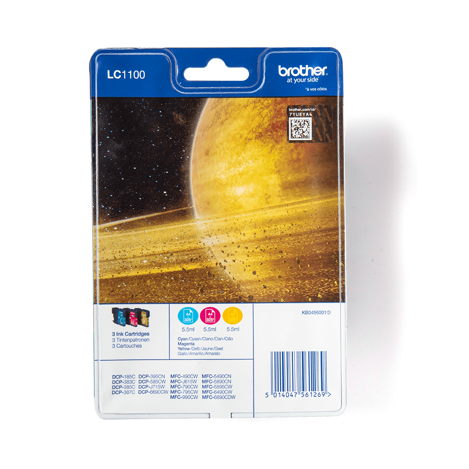 Eredeti Brother LC1100RBWBP színes tintapatron csomag bliszter csomagolásban.