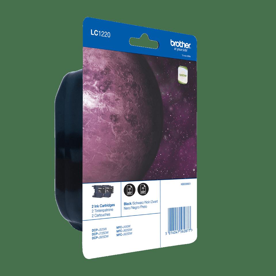 Eredeti Brother LC1220BKBP2 tintapatron, két darab egy csomagban – Fekete színben 2
