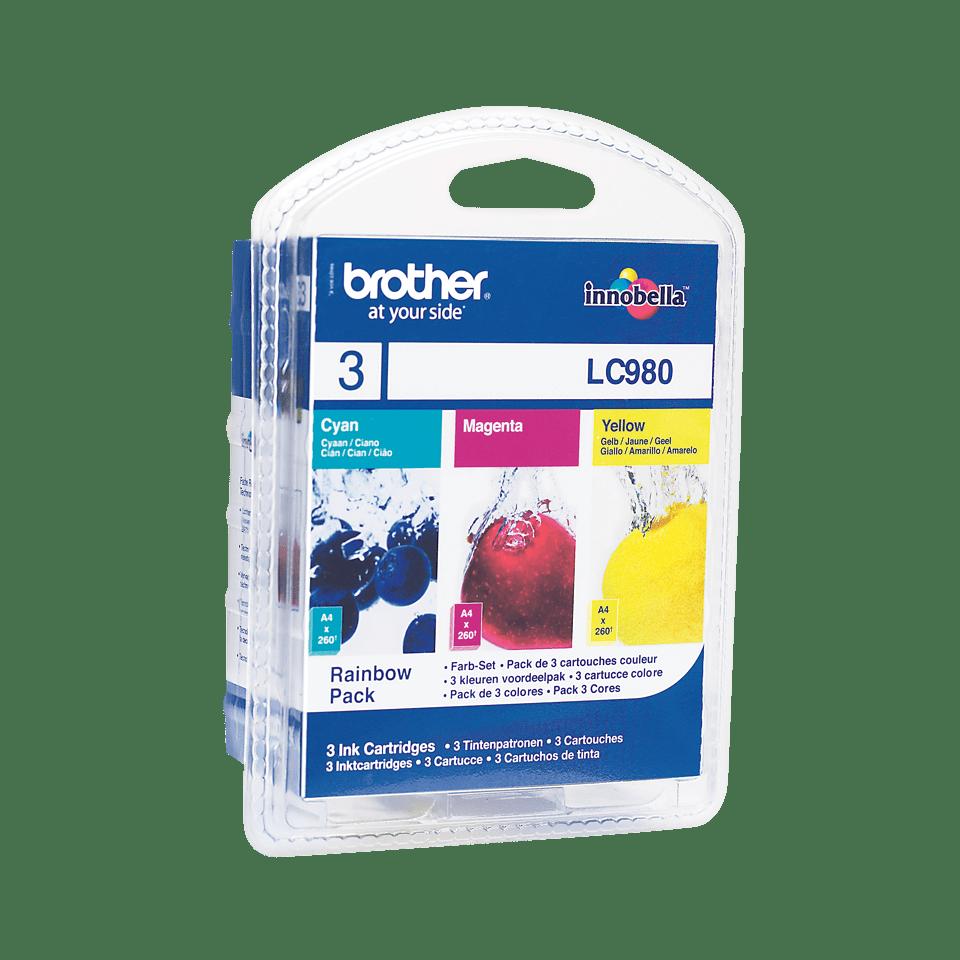 Eredeti Brother LC980RBWBP színes tintapatron csomag bliszter csomagolásban.