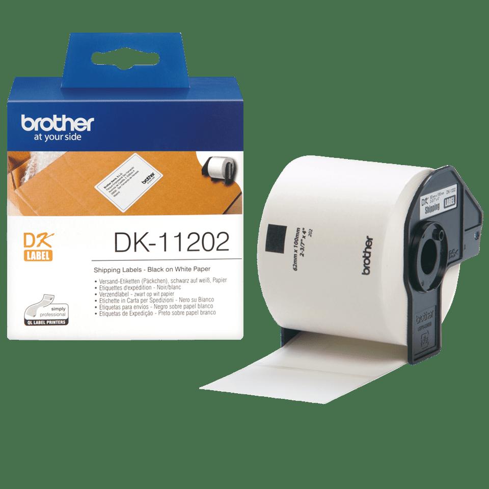Eredeti Brother DK-11202 szalag tekercsben – Fehér alapon fekete, 62mm x 100mm 3