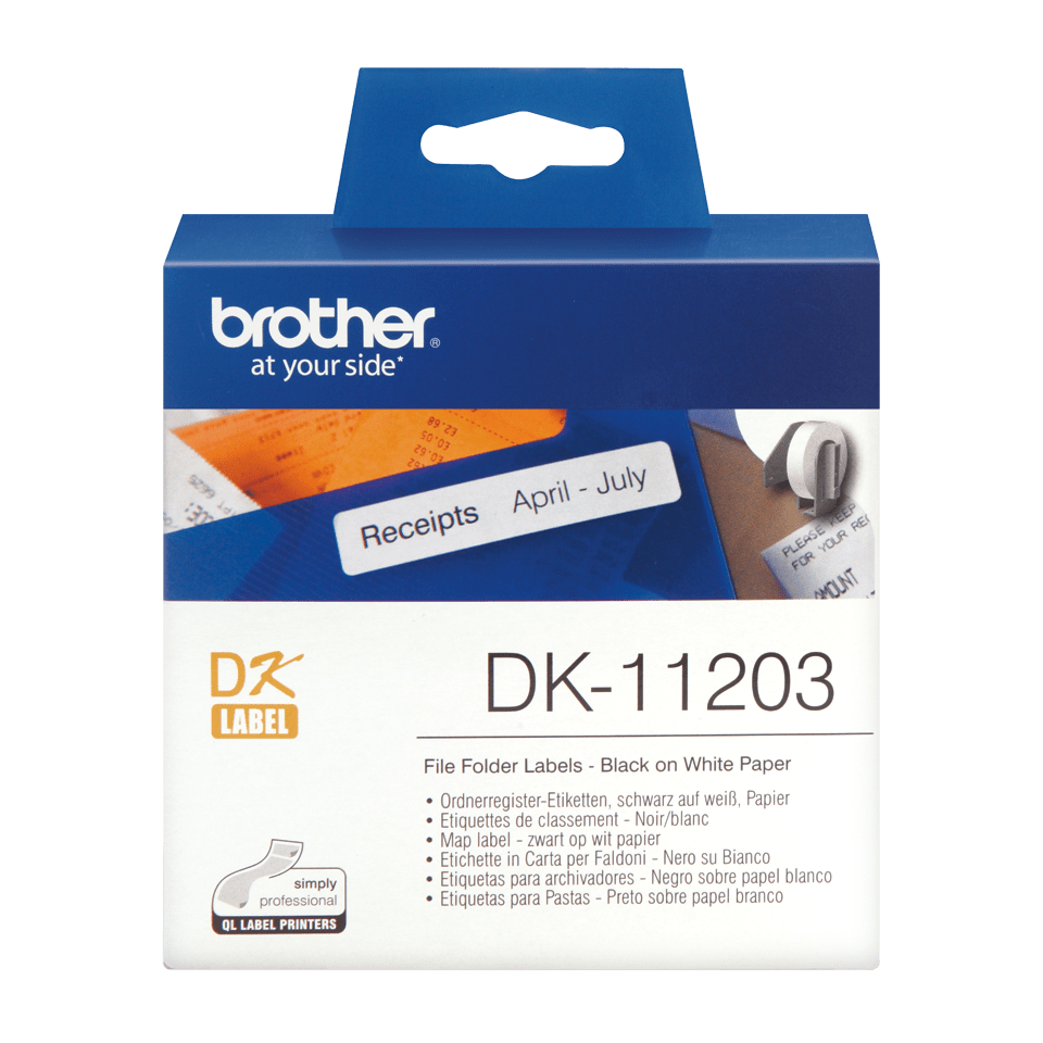 Eredeti Brother DK-11203 szalag tekercsben – Fehér alapon fekete, 17mm x 87mm