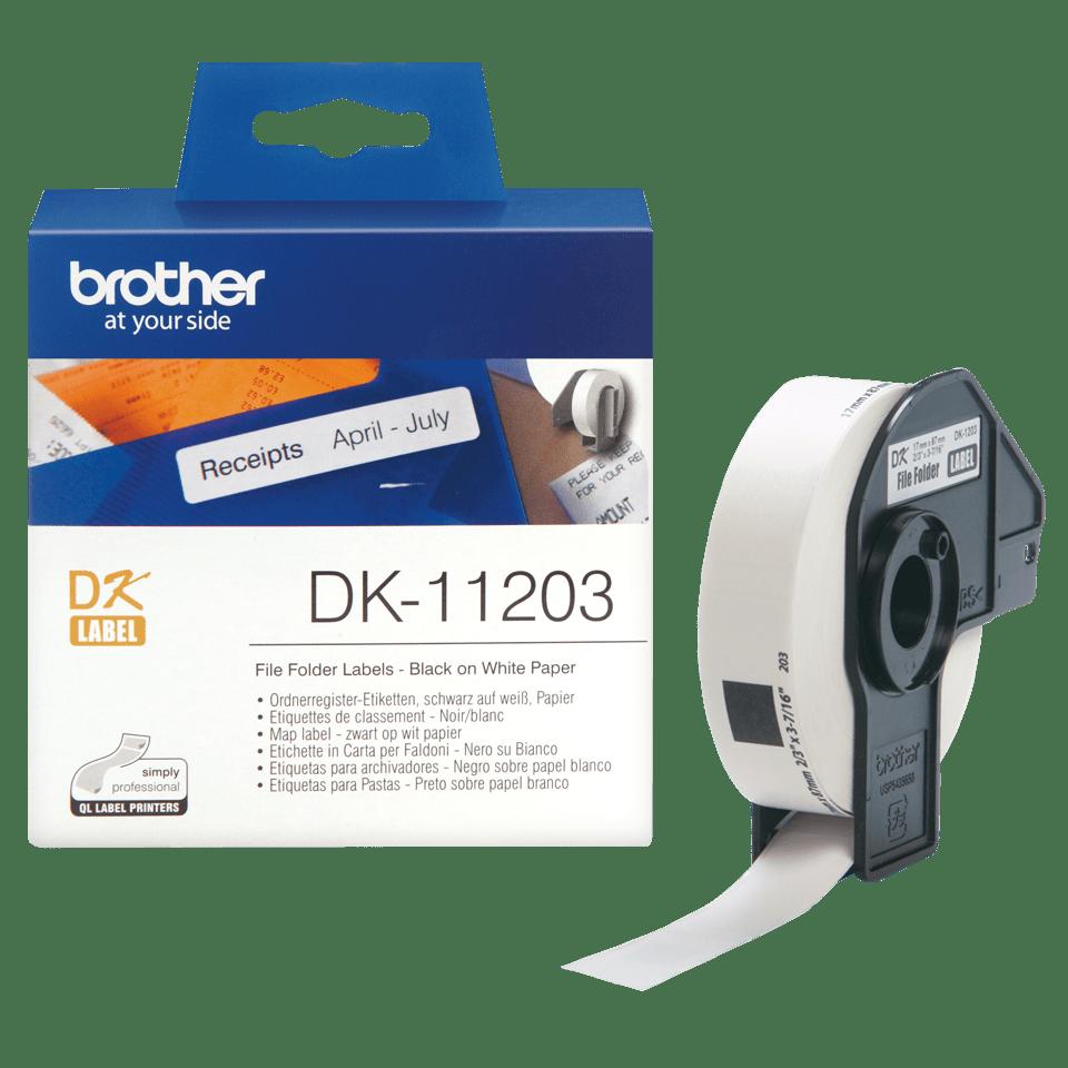 Eredeti Brother DK-11203 szalag tekercsben – Fehér alapon fekete, 17mm x 87mm 3