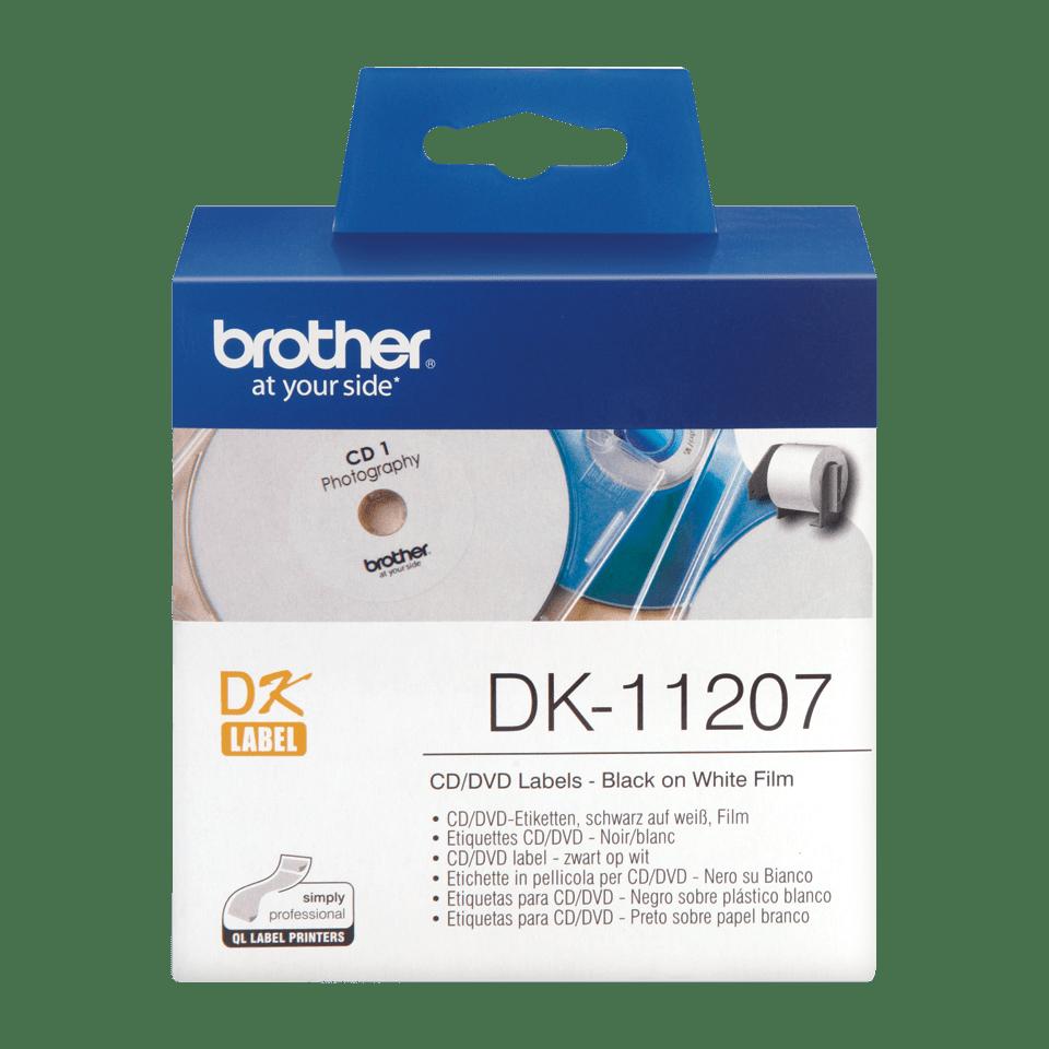 Eredeti Brother DK-11207 CD/DVD címke tekercsben – Fehér alapon fekete, 58mm átmérőjű