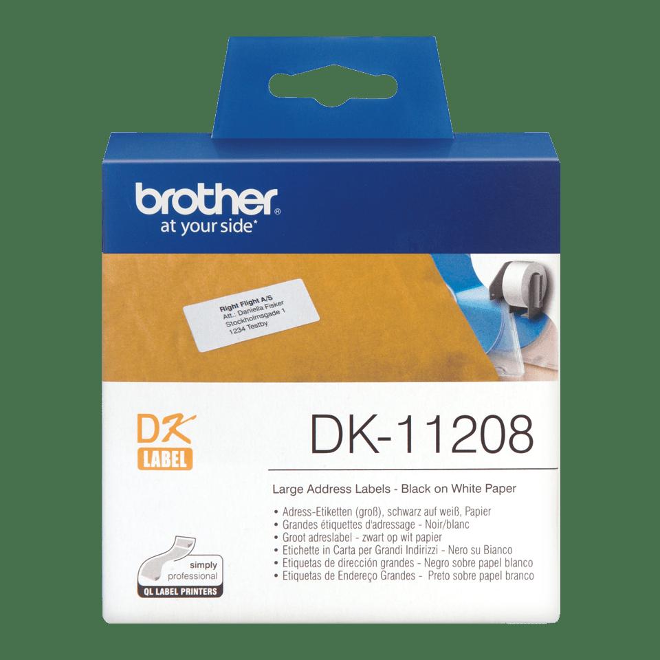 Eredeti Brother DK-11208 szalag tekercsben – Fehér alapon fekete, 38mm x 90mm