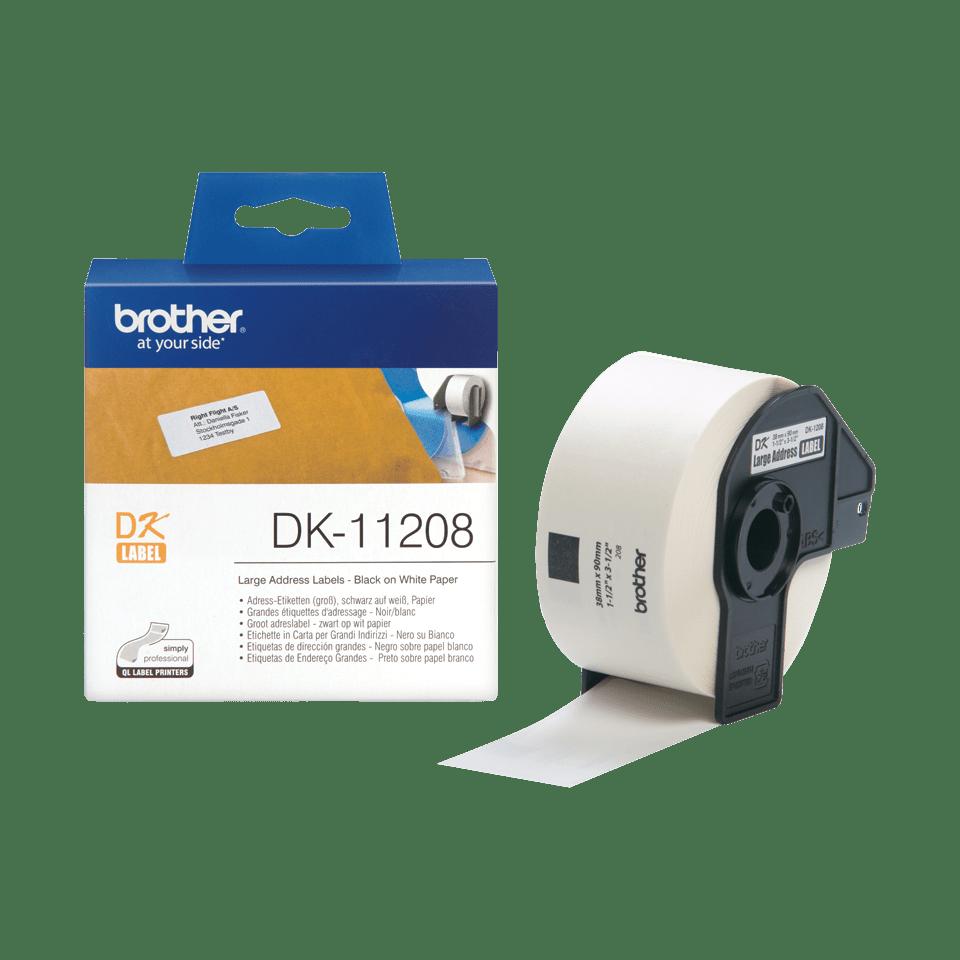 Eredeti Brother DK-11208 szalag tekercsben – Fehér alapon fekete, 38mm x 90mm 3