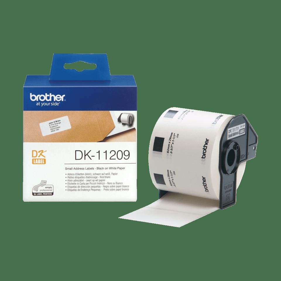 Eredeti Brother DK-11209 szalag tekercsben – Fehér alapon fekete,  29mm x 62mm 3
