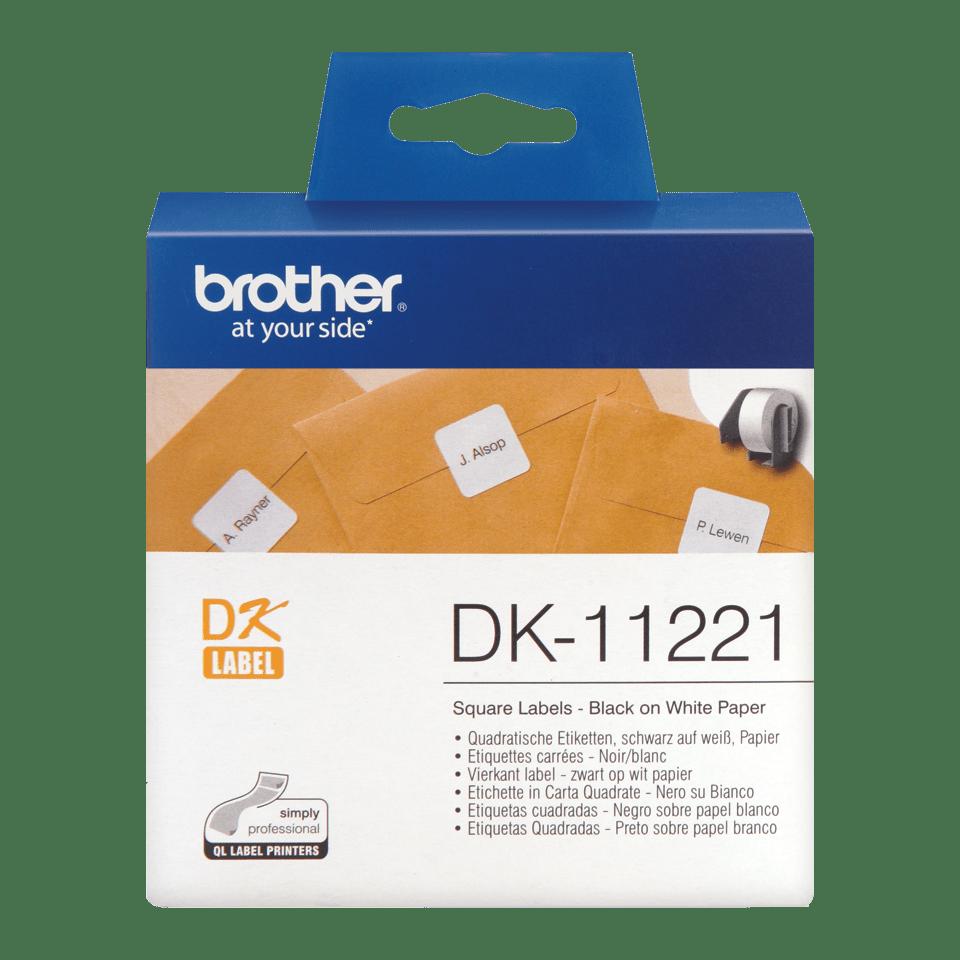 Eredeti Brother DK-11221 szalag tekercsben – Fehér alapon fekete, 23mm x 23mm