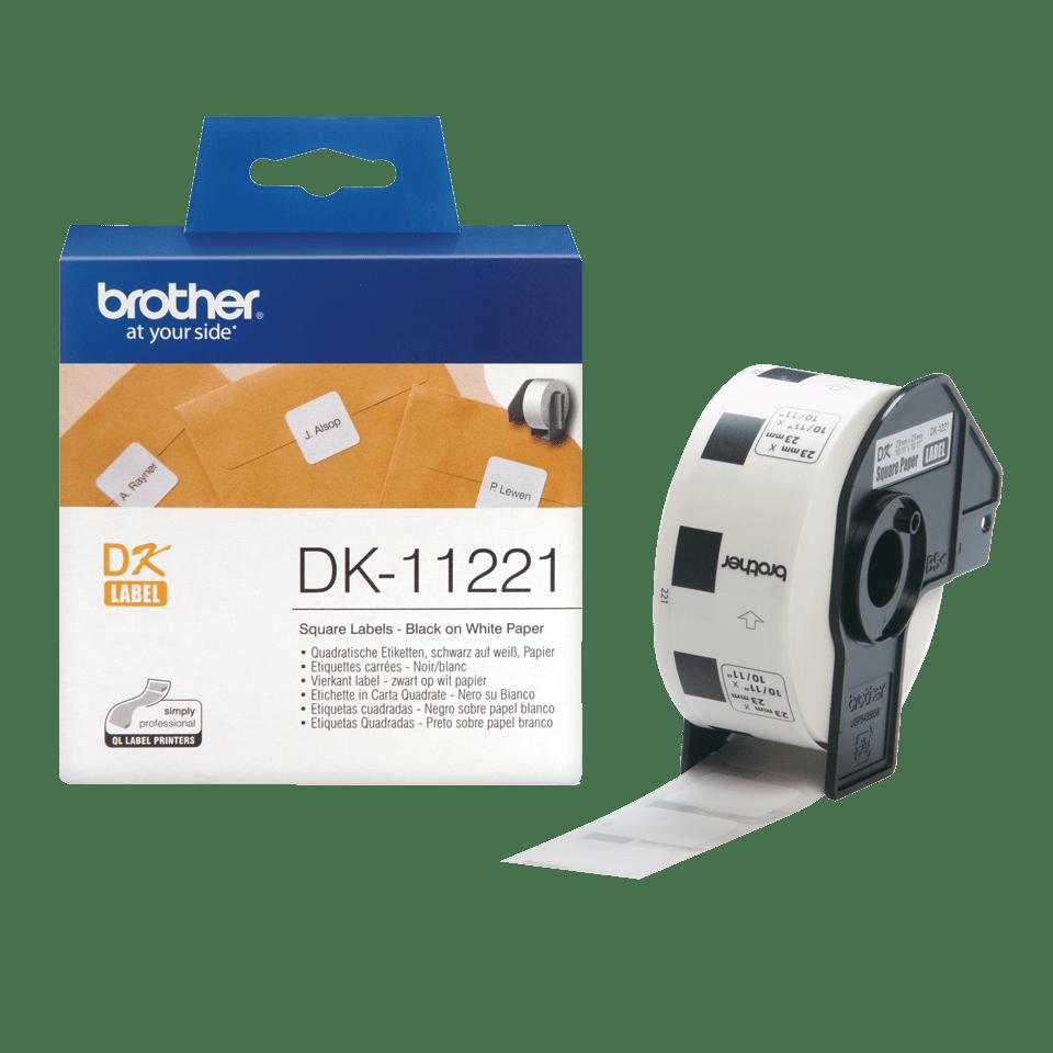 Eredeti Brother DK-11221 szalag tekercsben – Fehér alapon fekete, 23mm x 23mm 3