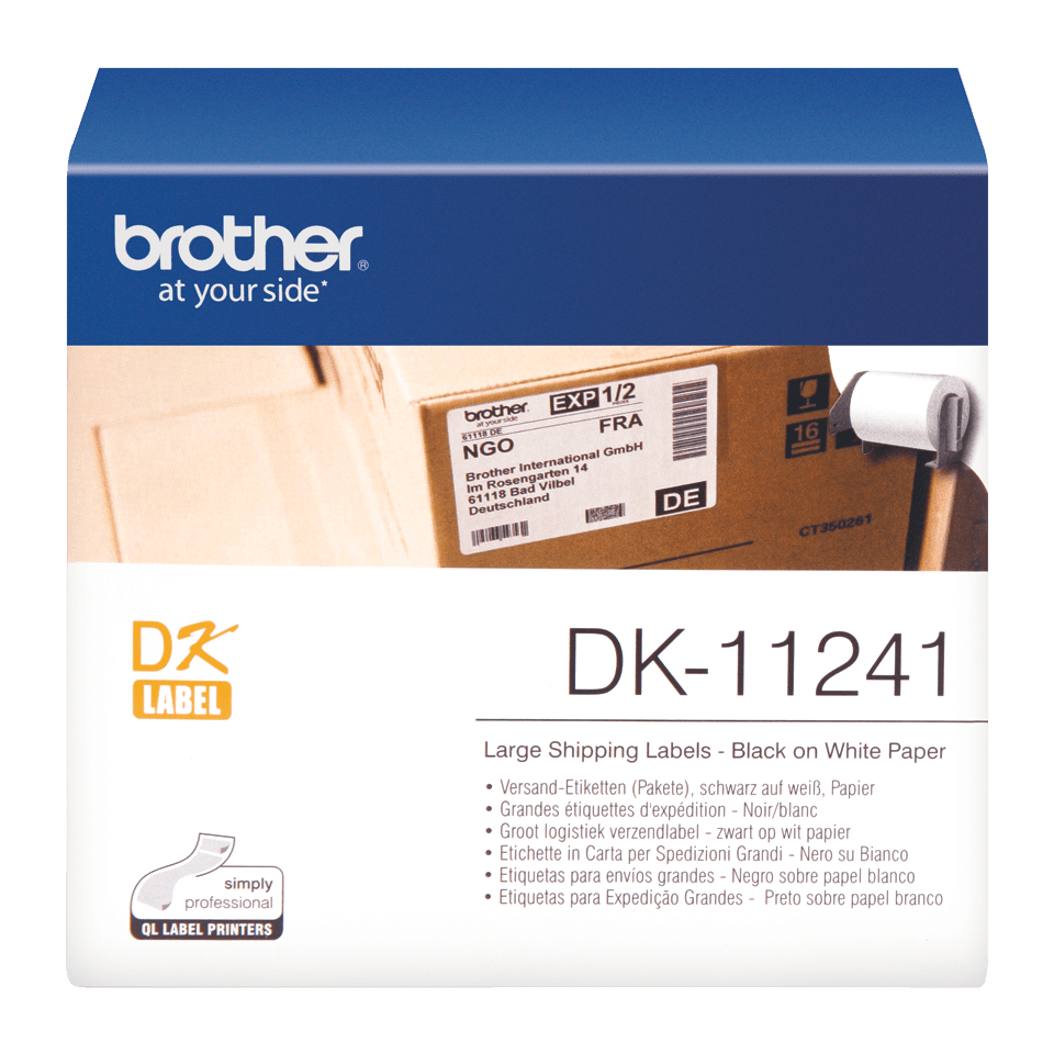 Eredeti Brother DK-11241 szalag tekercsben – Fehér alapon fekete, 102mm x 152mm