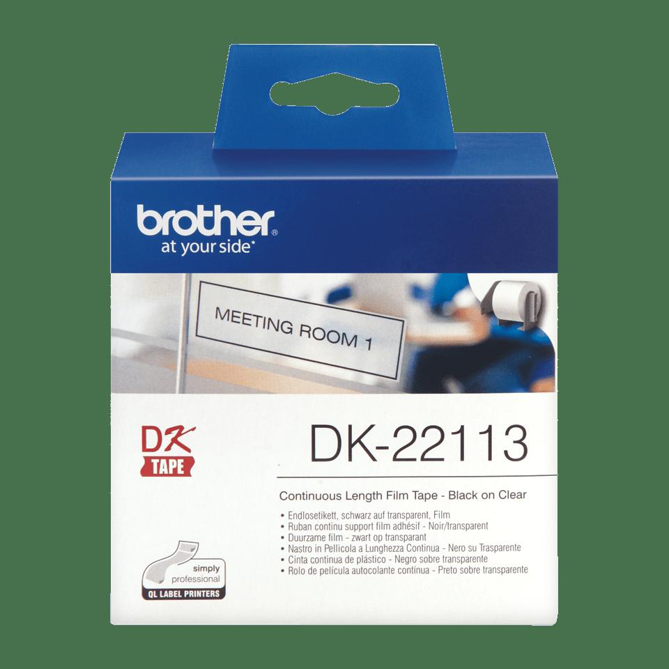 Eredeti Brother DK-22113 folytonos, filmrétegű szalag tekercsben – Átlátszó alapon fekete, 62mm. 2