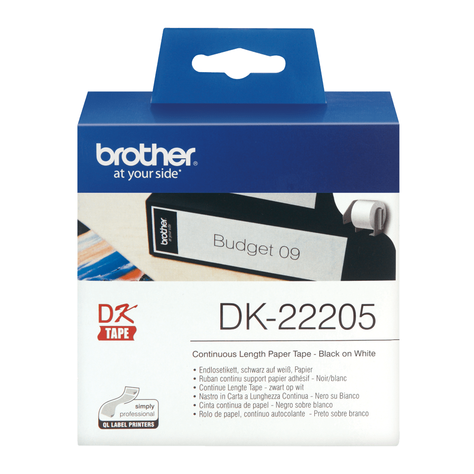 Genuine Brother DK-22205 Continuous Paper Label Roll – Black on White, 62mm wide