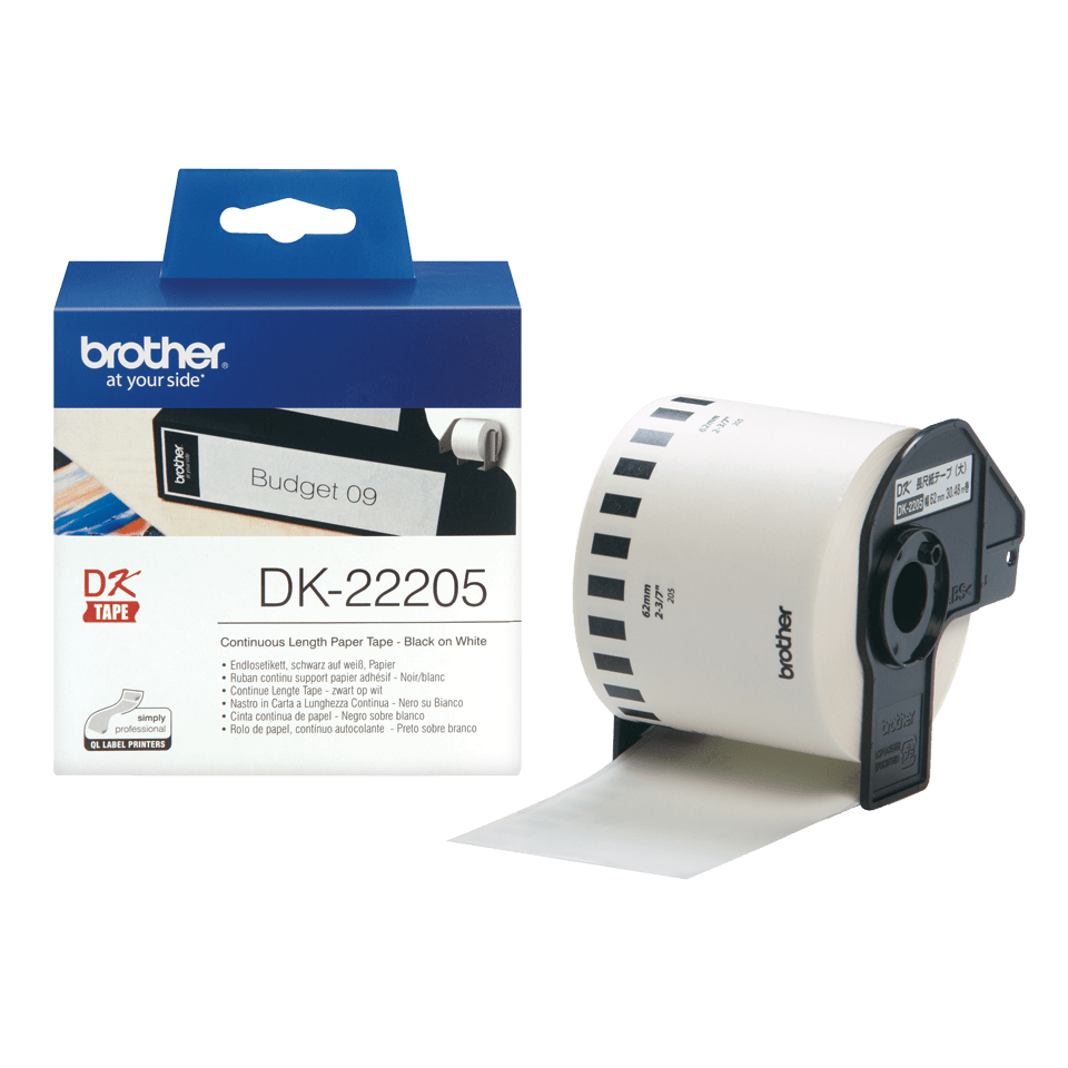 Genuine Brother DK-22205 Continuous Paper Label Roll – Black on White, 62mm wide 3