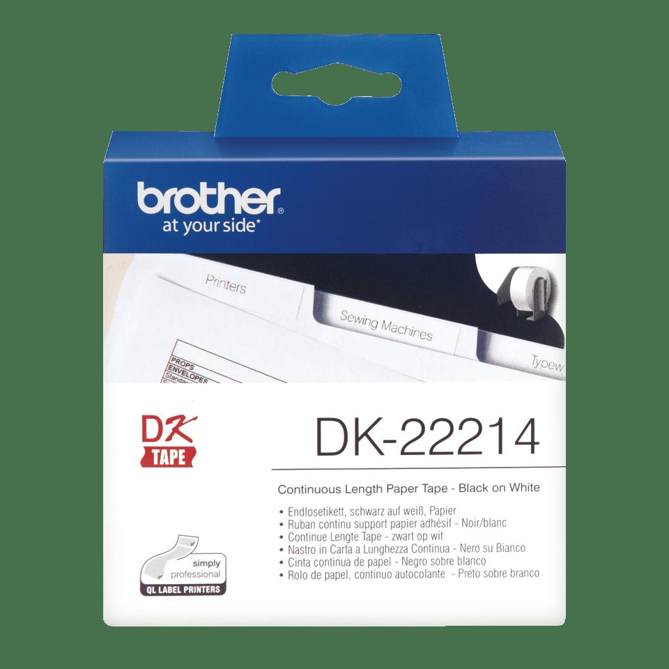 Eredeti Brother DK-22214 papírszalag tekercsben – Fehér alapon fekete, 12mm széles