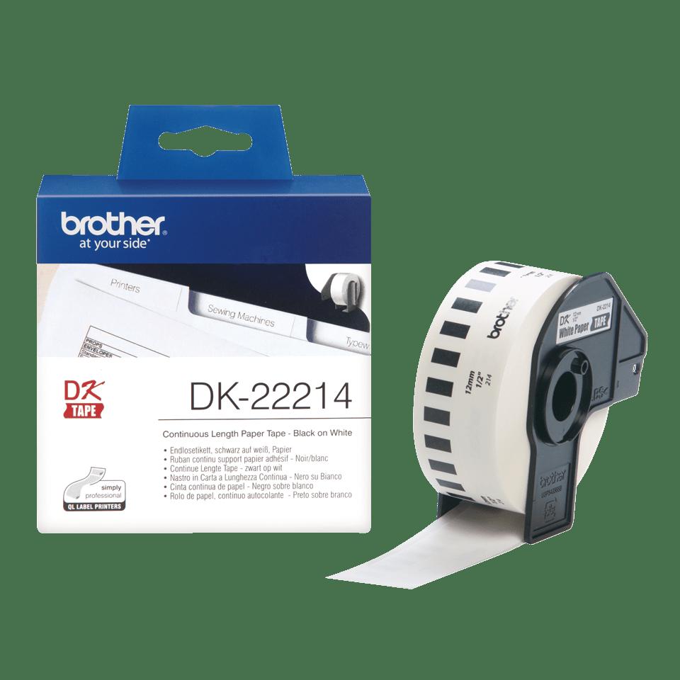 Eredeti Brother DK-22214 papírszalag tekercsben – Fehér alapon fekete, 12mm széles 3