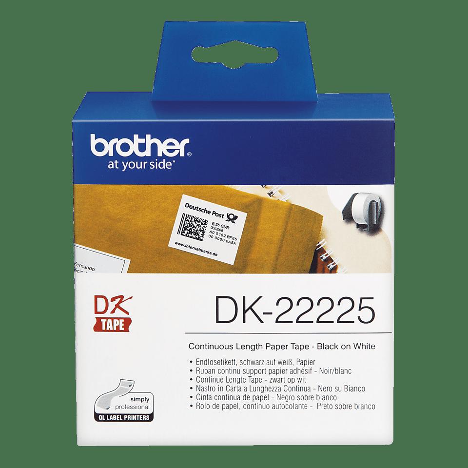 Eredeti Brother DK-22225 folytonos szalag tekercsben – Fehér alapon fekete, 38mm széles 2