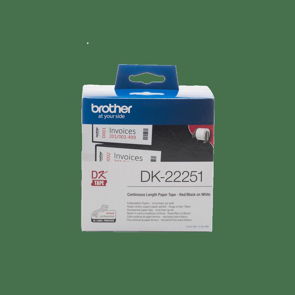 Eredeti Brother DK-22251 folytonos papírszalag – Fehér alapon fekete vagy piros, 62mm széles