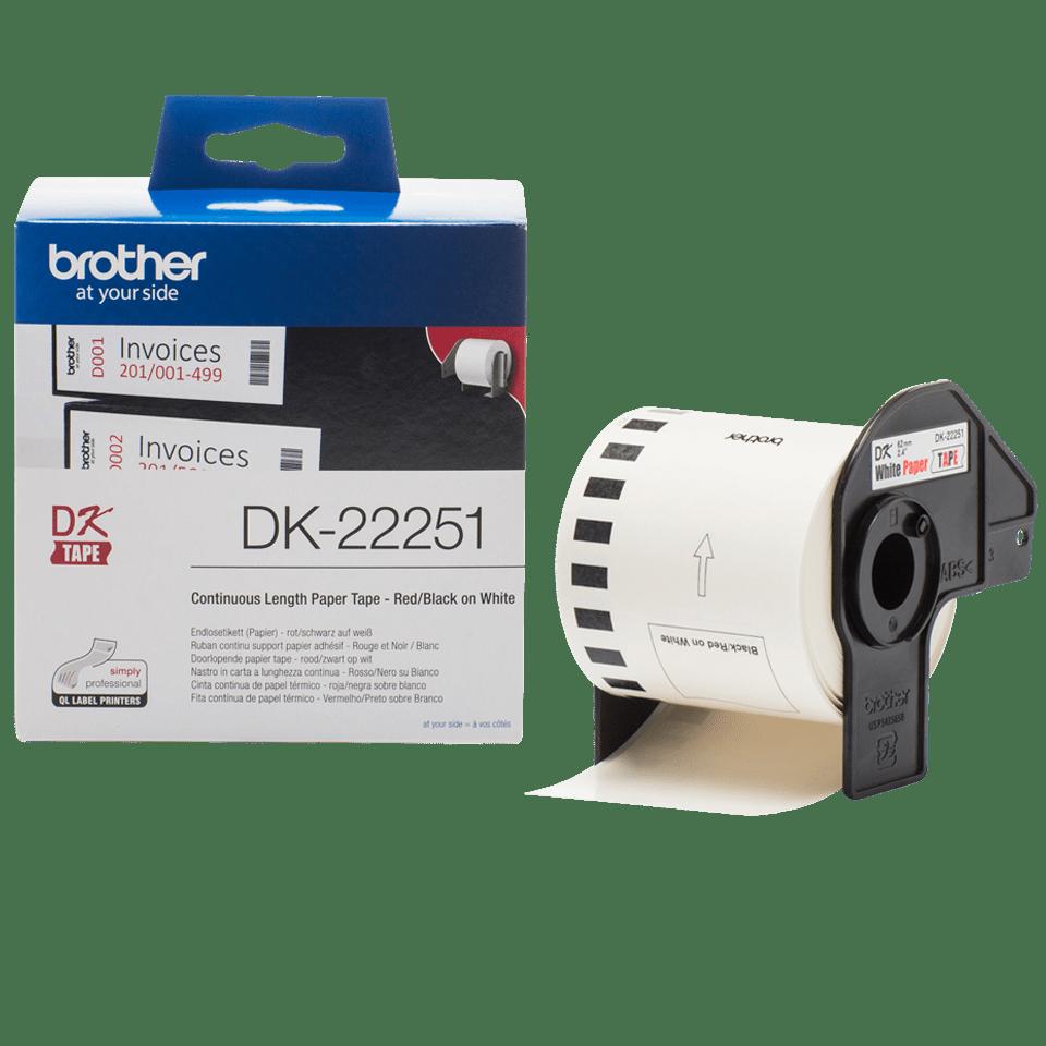 Eredeti Brother DK-22251 folytonos papírszalag – Fehér alapon fekete vagy piros, 62mm széles 3