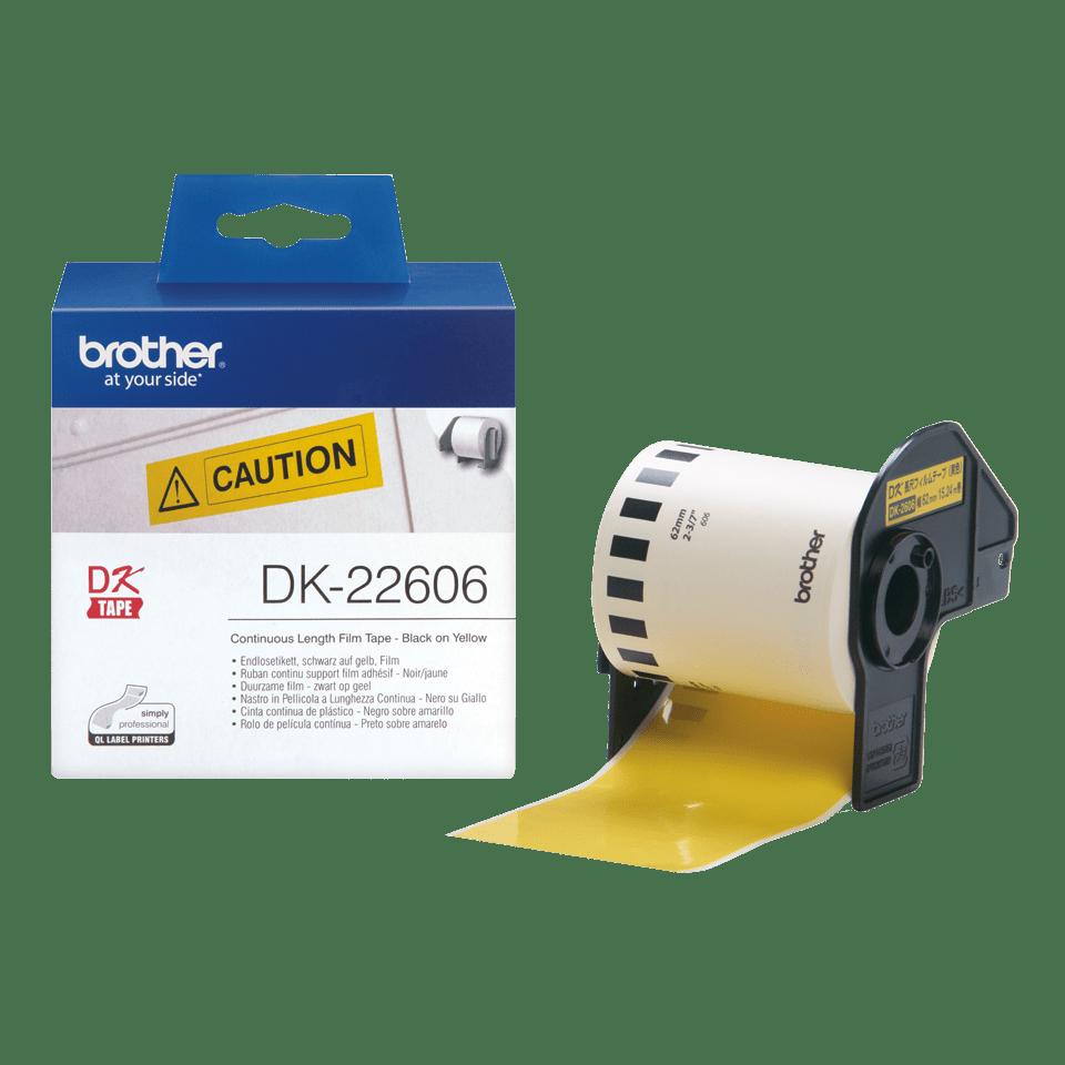 Eredeti Brother DK-22606 folytonos filmszalag – Sárga alapon fekete , 62mm széles 4