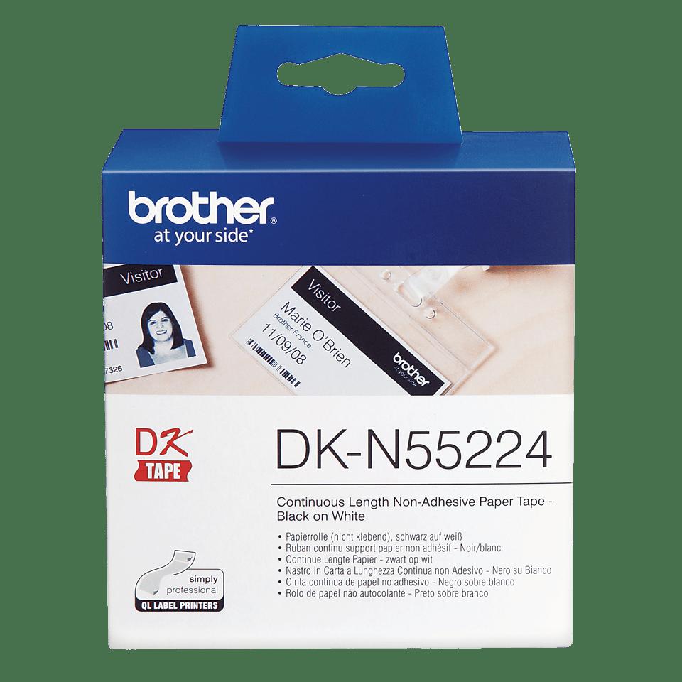 Eredeti Brother DK-N55224 folytonos papírszalag, nem ragasztható – Fehér alapon fekete, 54mm széles