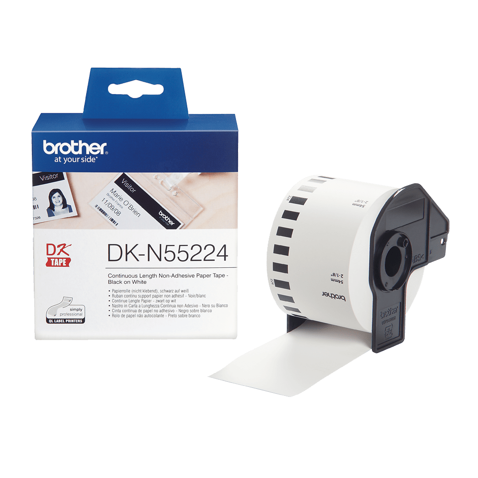 Eredeti Brother DK-N55224 folytonos papírszalag, nem ragasztható – Fehér alapon fekete, 54mm széles 3