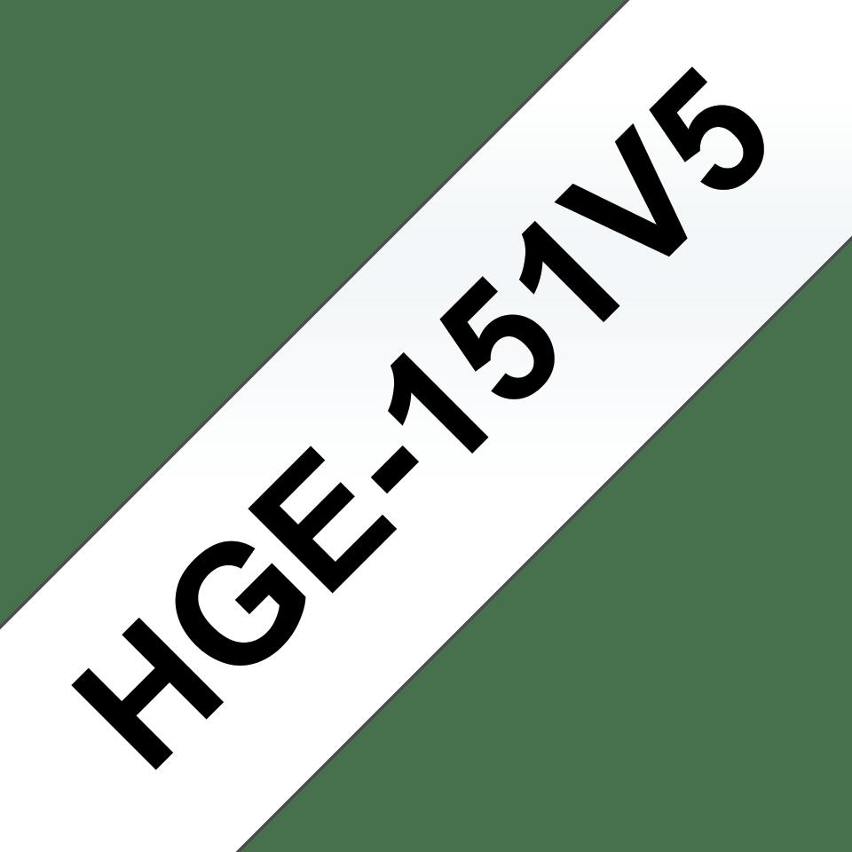 Eredeti Brother HGe-151V5 szalag – Átlátszó alapon fekete, 24mm széles