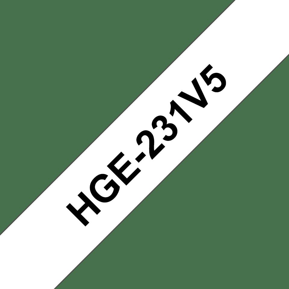 Eredeti Brother HGe-231V5 szalag  – Fehér alapon fekete, 12mm széles