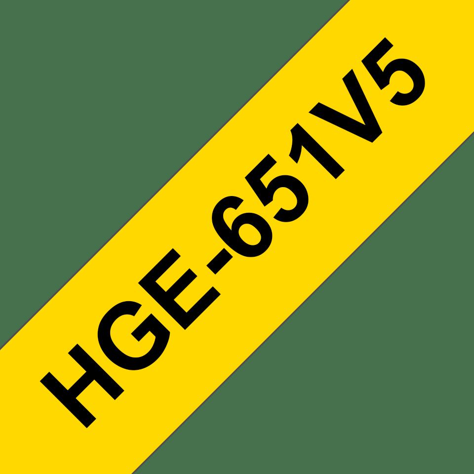 Eredeti Brother HGe-651V5 szalag – Sárga alapon fekete, 24mm széles