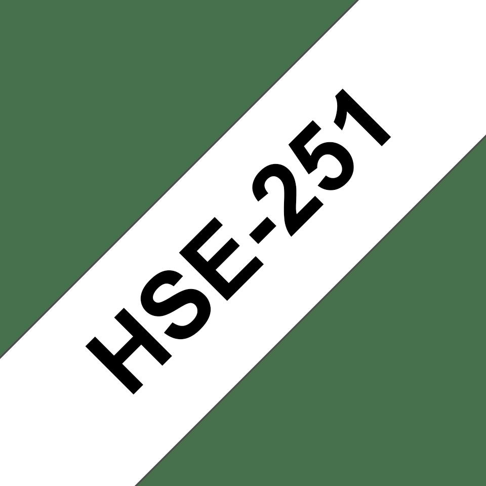Eredeti Brother HSe-251, zsugorcsöves szalag tekercsben  – Fehér alapon fekete, 23.6mm széles 3