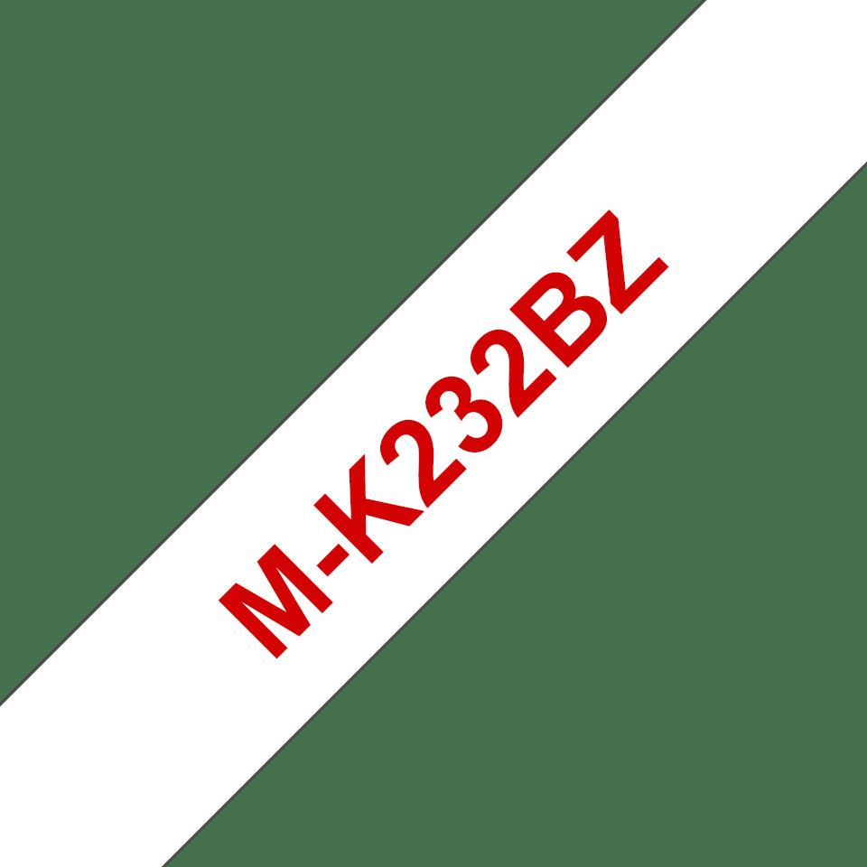 Eredeti Brother MK232BZ szalagkazetta - fehér alapon piros, 12 mm széles