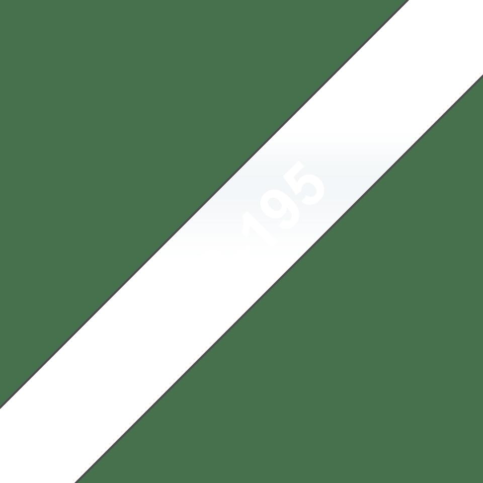 Eredeti Brother TC195 szalagkazetta – átlátszó alapon fehér, 9mm széles