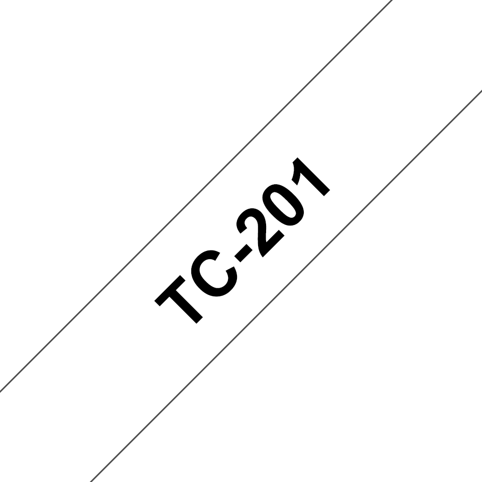 Eredeti Brother TC201 szalagkazetta - fehér alapon fekete, 12 mm széles
