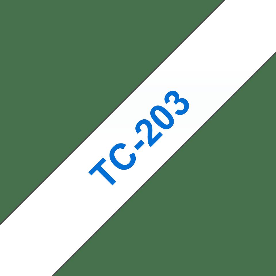 Eredeti Brother TC203 szalagkazetta - fehér alapon kék, 12 mm széles