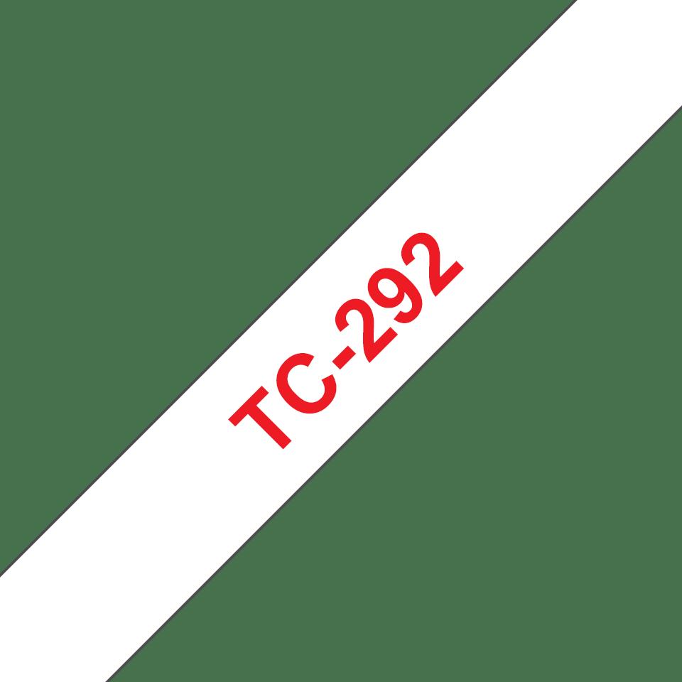 Eredeti Brother TC292 szalagkazetta - fehér alapon piros, 9 mm széles
