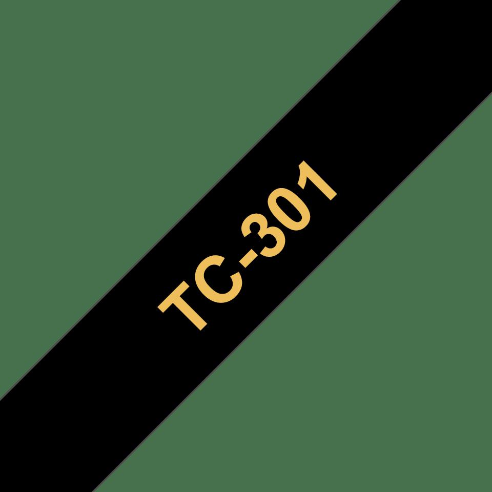 Eredeti Brother TC301 szalagkazetta - fekete alapon arany színű, 12 mm széles