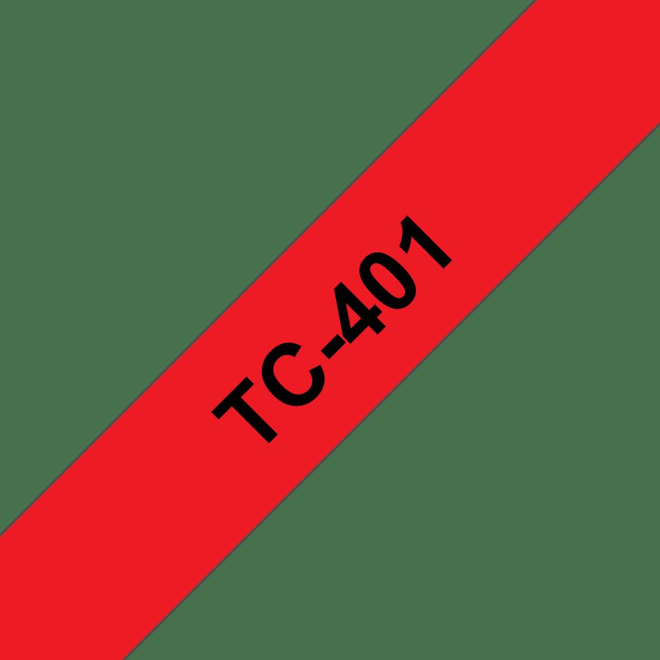 Eredeti Brother TX401 szalagkazetta - piros alapon fekete, 12 mm széles