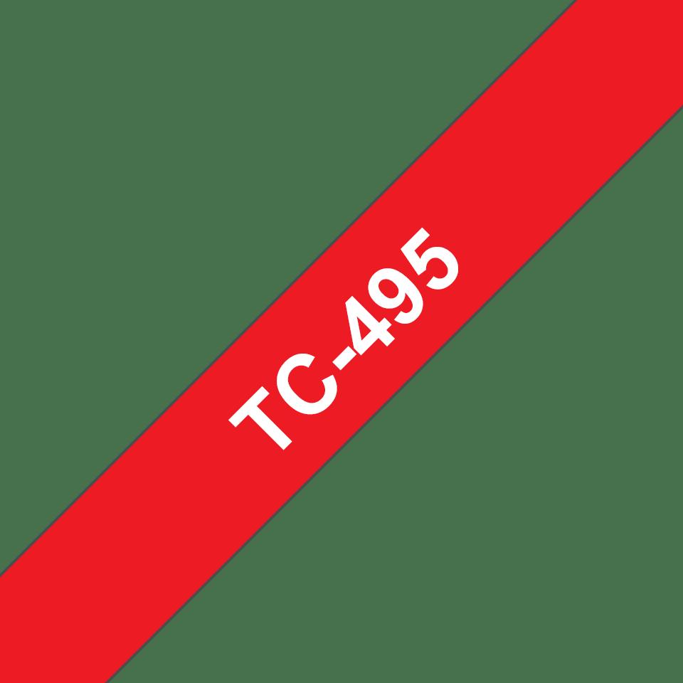 Eredeti Brother TC495 szalagkazetta - piros alapon fehér, 9 mm széles