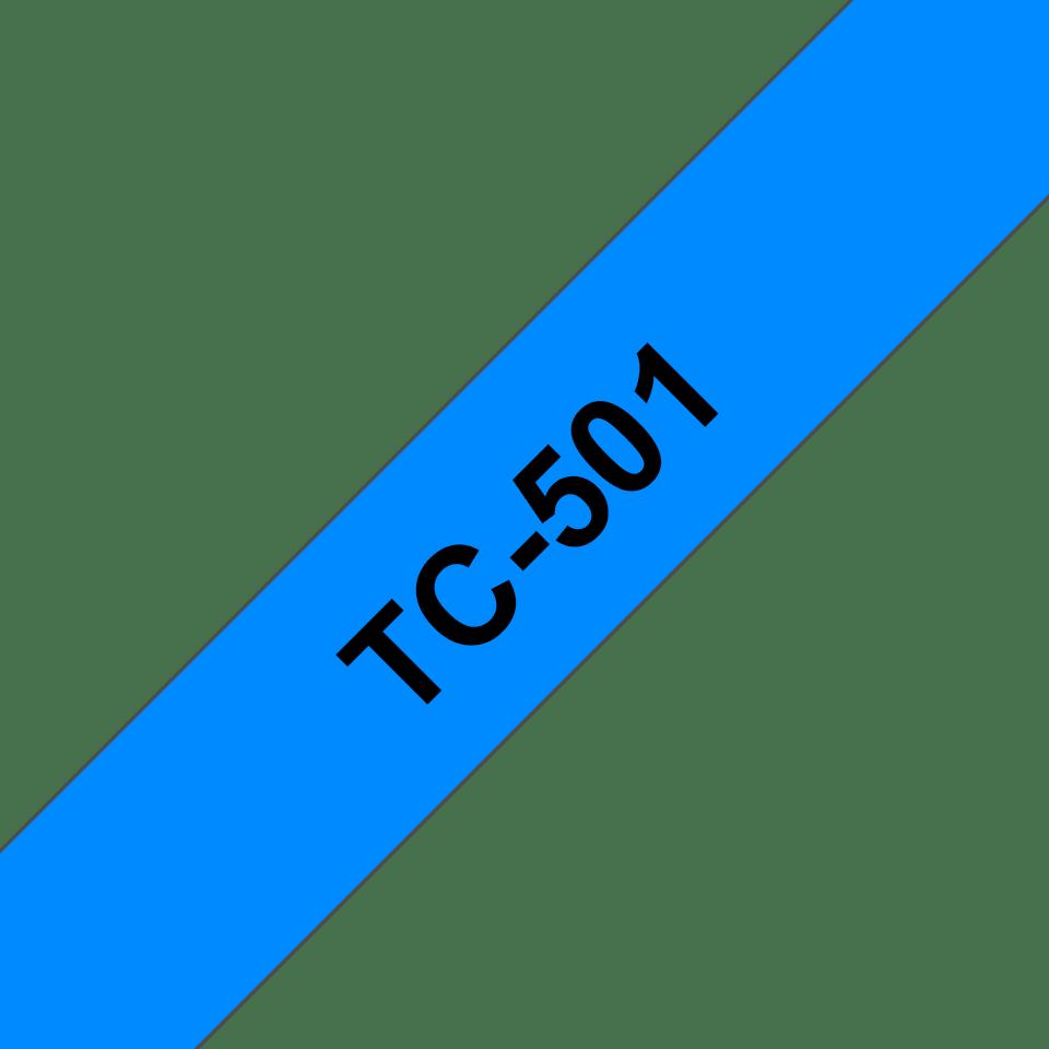 Eredeti Brother TC501 szalagkazetta - kék alapon fekete, 12 mm széles