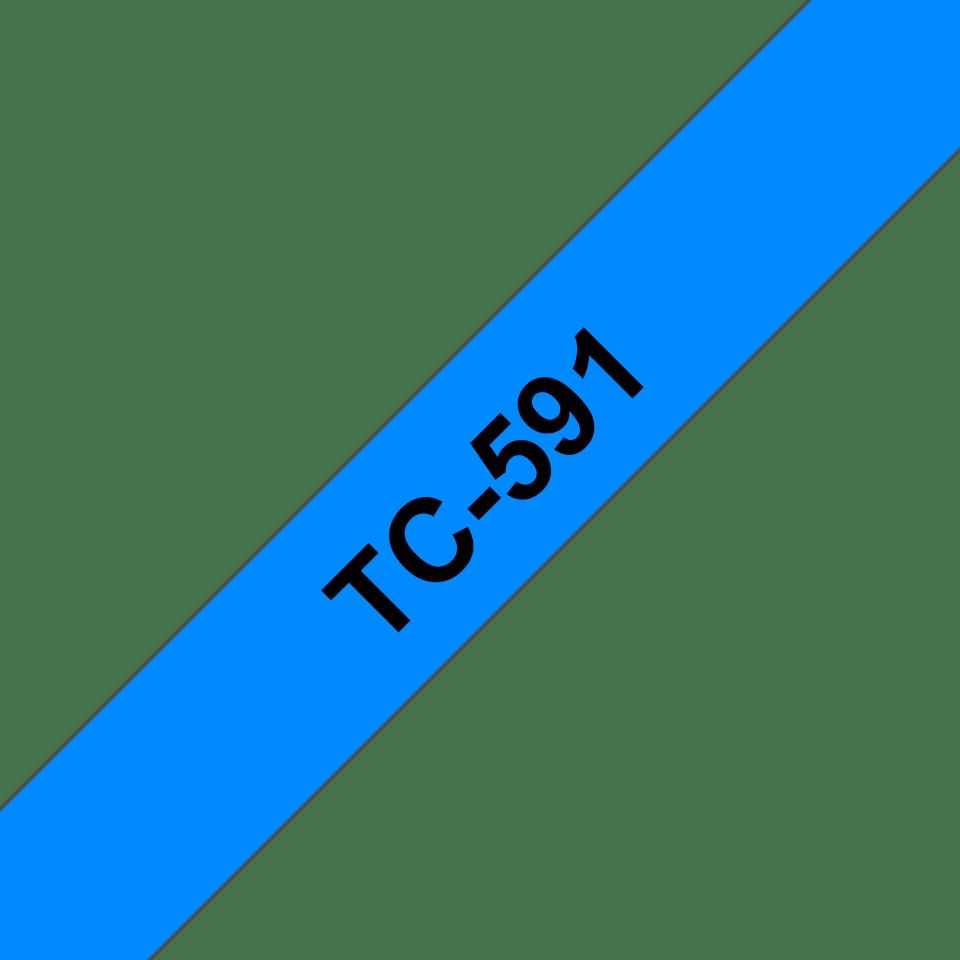 Eredeti Brother TC591 címkéző szalagkazetta - kék alapon fekete, 9 mm széles