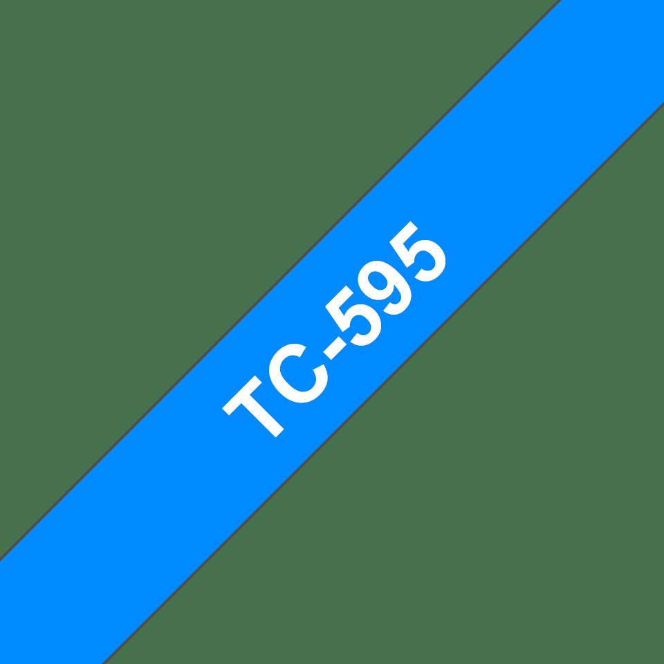 Eredeti Brother TC595 szalagkazetta - kék alapon fehér, 9 mm széles